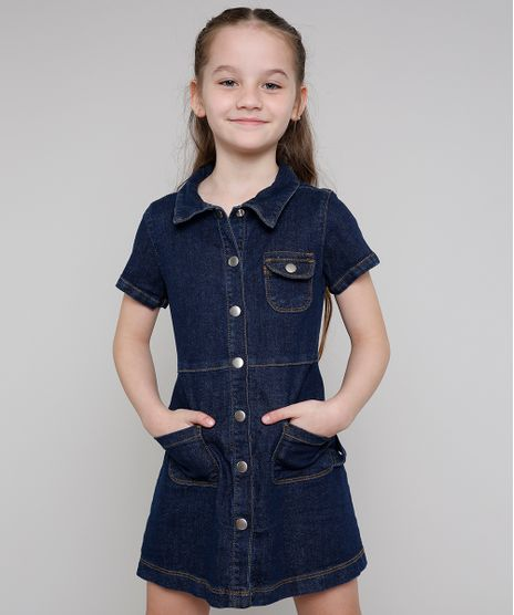 Vestido-Jeans-Infantil-com-Botoes-Manga-Curta-Azul-Escuro-9639055-Azul_Escuro_1
