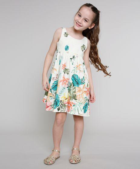Vestido-Infantil-Estampado-de-Folhagem-com-Linho-Alca-Larga-Bege-Claro-9663244-Bege_Claro_1