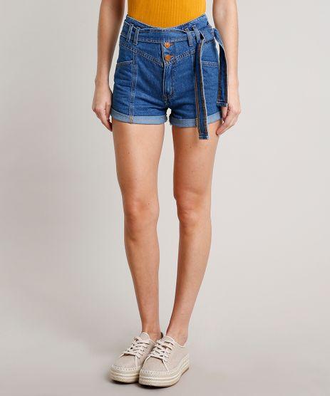 Short-Jeans-Feminino-Mom-com-Faixa-para-Amarrar-Azul-Medio-9676266-Azul_Medio_1
