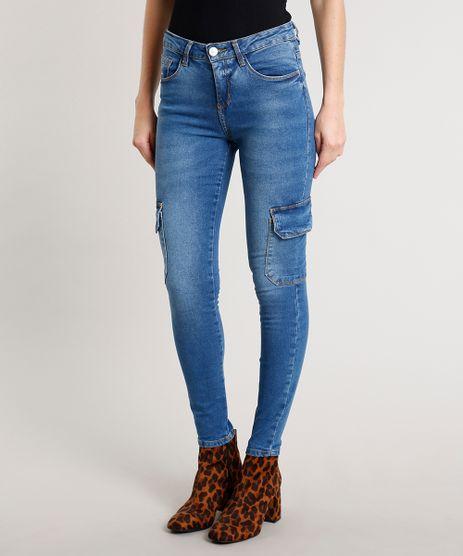 Calca-Jeans-Feminina-Skinny-Cargo-Azul-Medio-9676265-Azul_Medio_1