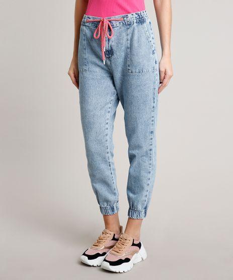 Calca-Jeans-Feminina-Jogger-com-Cadarco-Azul-Claro-9662953-Azul_Claro_1