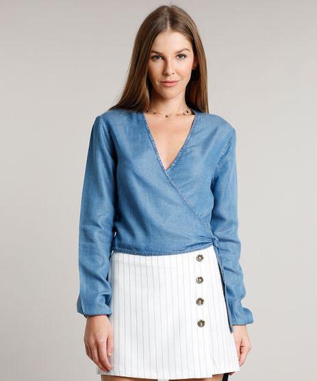 Blusa-Jeans-Feminina-Cropped-Transpassada-Manga-Longa-Decote-V-Azul-Medio-9670250-Azul_Medio_1