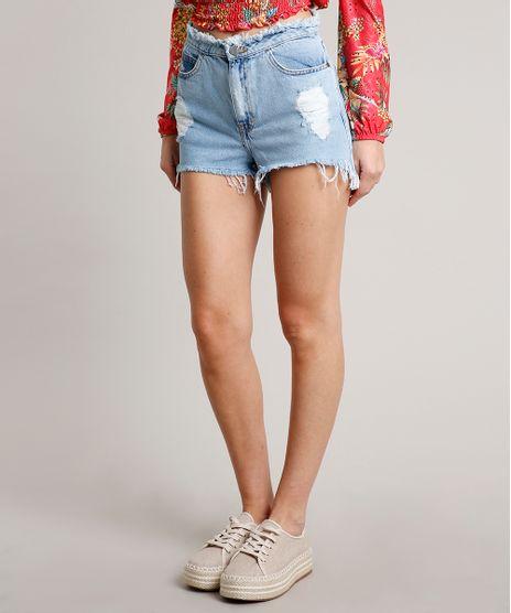 Short-Jeans-Feminino-Vintage-Destroyed-com-Cos-Desfiado-Azul-Claro-9666363-Azul_Claro_1