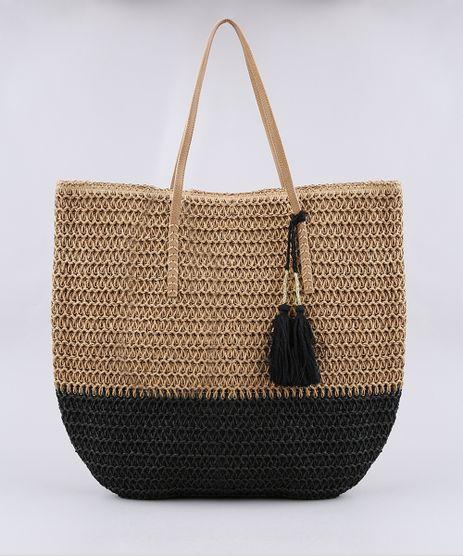 Bolsa-de-Praia-Feminina-Shopper-Grande-com-Palha-e-Tassel-Bege-9602427-Bege_1