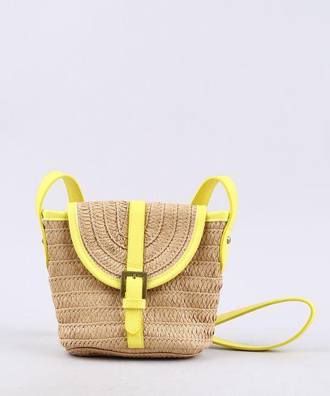 Bolsa-Feminina-Transversal-Pequena-com-Palha-e-Alca-Neon-Bege-9602430-Bege_1