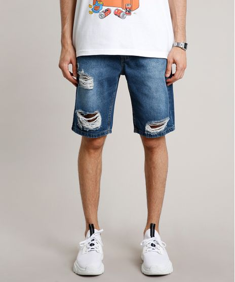 Bermuda-Jeans-Masculina-Slim-Destroyed-Azul-Medio-9335202-Azul_Medio_1