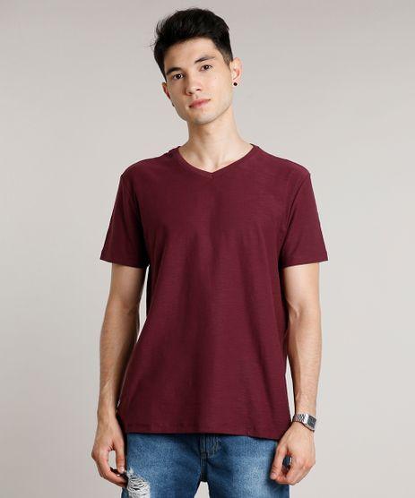 Camiseta-Masculina-Basica-Manga-Curta-Gola-V-Vinho-9653007-Vinho_1
