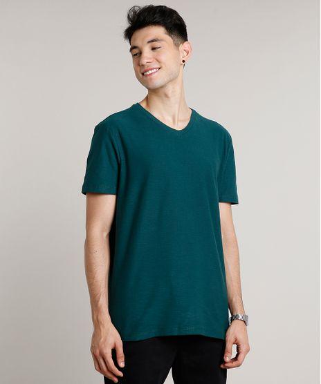 Camiseta-Masculina-Basica-Manga-Curta-Gola-V-Verde-Militar-9652152-Verde_Militar_1