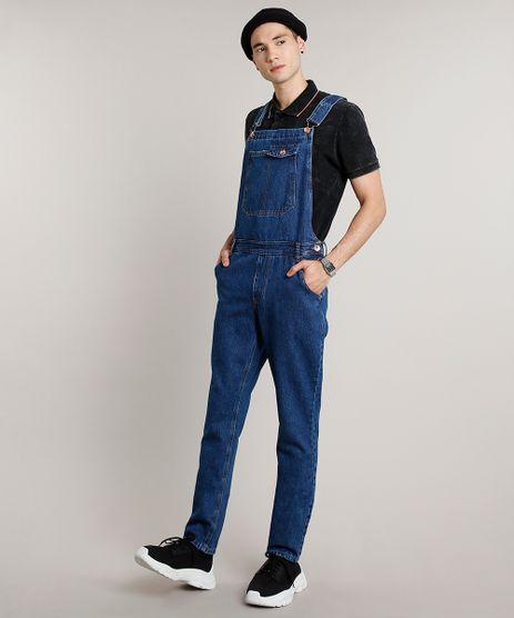 Macacao-Jeans-Masculino-Slim-com-Bolsos-Azul-Escuro-9662727-Azul_Escuro_1