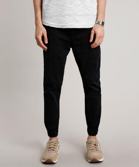 Calca-de-Sarja-Masculina-Jogger-Skinny-Estampada-Quadriculada-com-Cordao-Preta-9628186-Preto_1