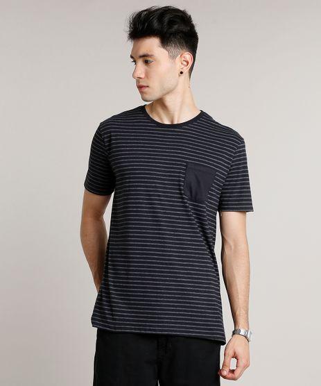 Camiseta-Masculina-Basica-Listrada-com-Bolso-Manga-Curta-Gola-Careca-Preta-9656088-Preto_1