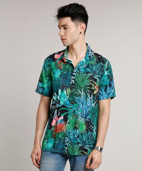 Camisa-Masculina-Estampada-Tropical-Manga-Curta-Preta-9592901-Preto_1