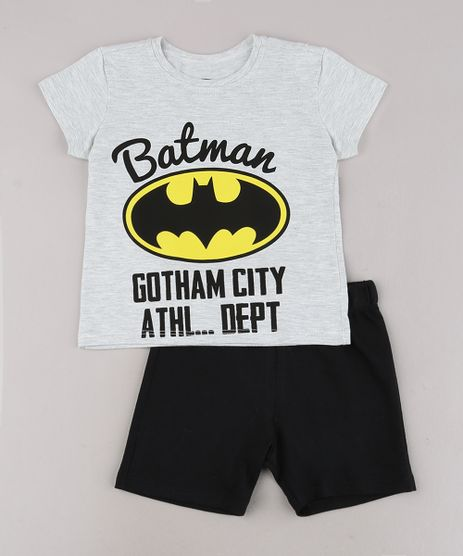 Conjunto-Infantil-Batman-de-Camiseta-Manga-Curta-Cinza-Mescla-Claro---Bermuda-em-Moletom--Preta-9429372-Preto_1