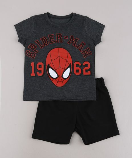 Conjunto-Infantil-Homem-Aranha-de-Camiseta-Manga-Curta-Cinza-Mescla-Escuro---Bermuda-em-Moletom--Preta-9429376-Preto_1