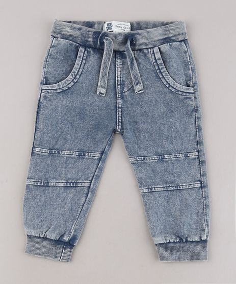 Calca-Jeans-Infantil-em-Moletom-com-Bolsos-Azul-Medio-9568324-Azul_Medio_1