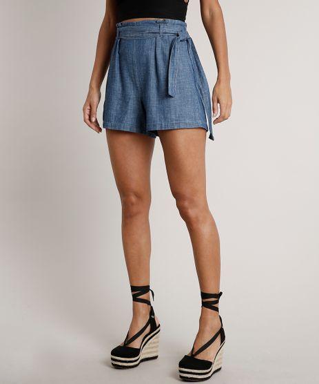 Short-Jeans-Feminino-Clochard-com-Faixa-de-Amarrar--Azul-Medio-9709660-Azul_Medio_1