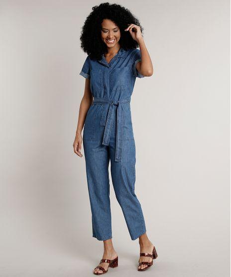 Macacao-Jeans-Feminino-com-Bolsos-e-Faixa-para-Amarrar-Manga-Curta-Azul-Medio-9676271-Azul_Medio_1