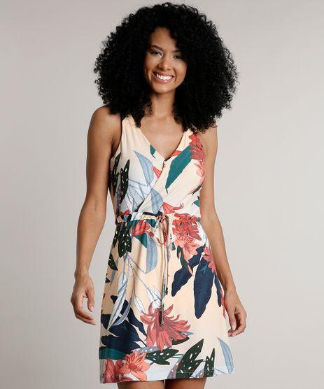 Vestido-Feminino-Curto-Transpassado-Estampado-Floral-com-Cordao-Sem-Manga-Laranja-Claro-9613391-Laranja_Claro_1