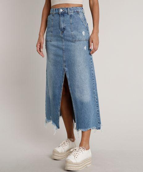 Saia-Jeans-Feminina-Longa-Destroyed-com-Fenda-e-Bolsos-Azul-Medio-9666380-Azul_Medio_1