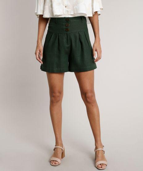 Short-Feminino-com-Linho-com-Botoes-Cos-Largo-Verde-Militar-9542581-Verde_Militar_1