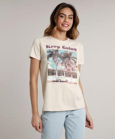T-Shirt-Feminina-Mindset--Keep-Going--Manga-Curta-Decote-Redondo-Bege-9711622-Bege_1