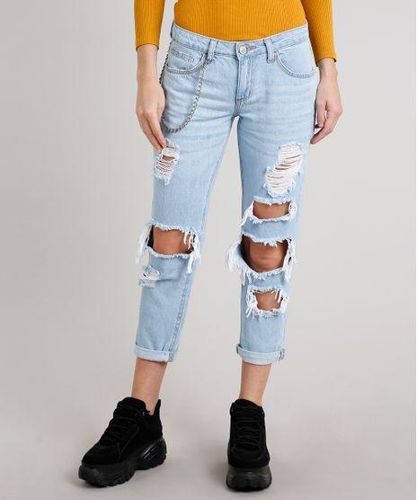 Calca-Jeans-Feminina-Mom-Destroyed-com-Corrente-Azul-Claro-9666364-Azul_Claro_2