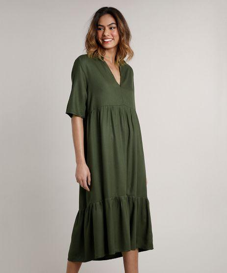 Vestido-Feminino-Mindset-Midi-Amplo-com-Babado-Manga-Curta--Verde-Militar-9765207-Verde_Militar_1