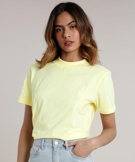 T-Shirt-Feminina-Mindset-Gola-Larga-Manga-Curta--Amarela-Claro-9765194-Amarelo_Claro_1