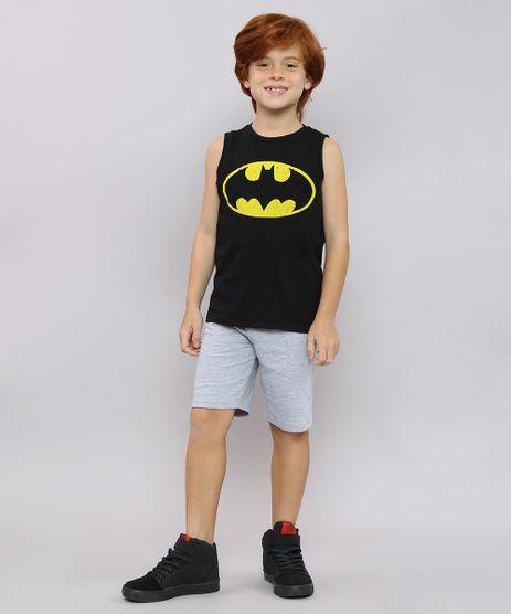 Conjunto-Infantil-Batman-de-Regata-Preta---Bermuda-em-Moletom-Cinza-Mescla-9222943-Cinza_Mescla_1