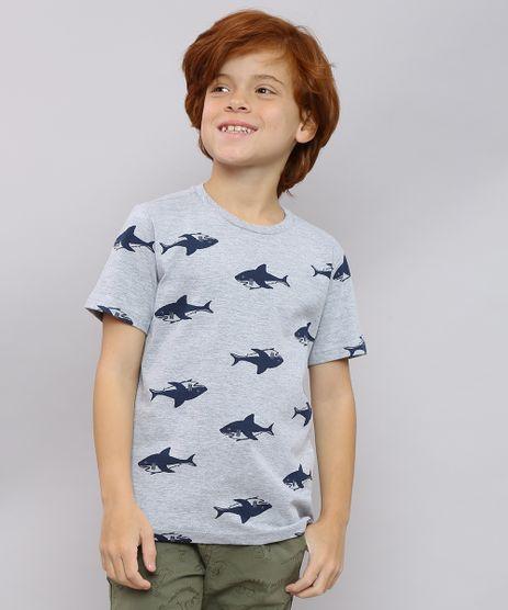Camiseta-Infantil-Estampada-de-Tubaroes-Manga-Curta-Cinza-Mescla-9625122-Cinza_Mescla_1