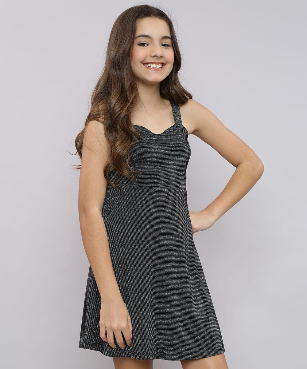 Vestido Juvenil com Lurex Tiras Cruzadas Alça Média Preto