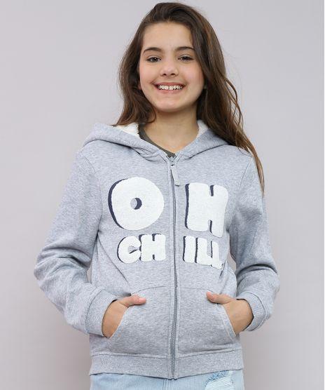 Blusao-Infantil-em-Moletom--Oh-Chill--com-Capuz-e-Pelo-Cinza-Mescla-9359993-Cinza_Mescla_1