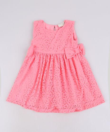 Vestido-Infantil-em-Laise-Sem-Manga-Com-Laco-Rosa-9687124-Rosa_1