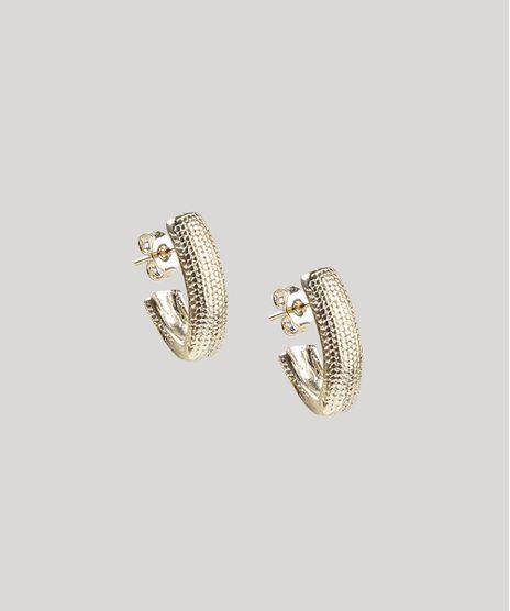 Brinco-Feminino-de-Argola-Geometrica-Folheada-Texturizada-Dourado-9657412-Dourado_1