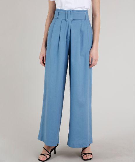 Calca-Feminina-Mindset-Pantalona-Alfaiatada-com-Cinto-Azul-9707551-Azul_1