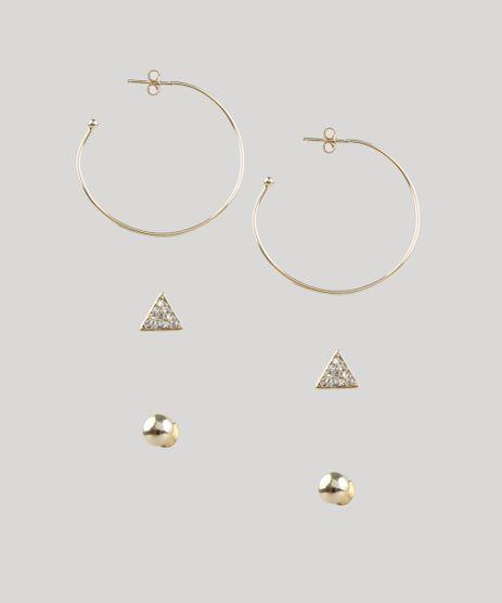 Kit-de-3-Brincos-Femininos-Folheados-Dourado-9657493-Dourado_1