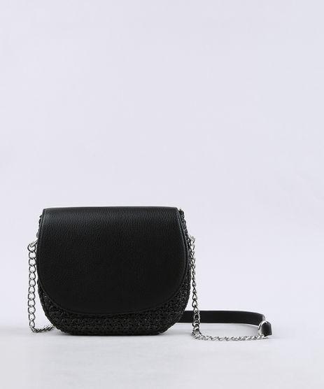 Bolsa-Feminina-Transversal-Pequena-com-Palha-e-Alca-Corrente-Preta-9604663-Preto_1