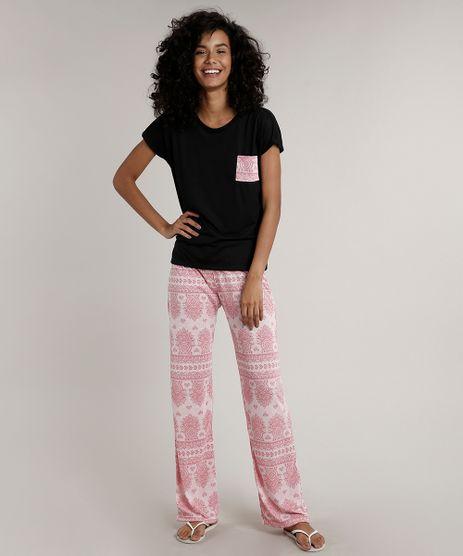 Pijama-Feminino-com-Bolso-Estampado-Paisley-Manga-Curta-Preto-9638673-Preto_1