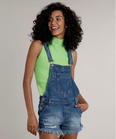 Jardineira-Jeans-Feminina-Relaxed-com-Rasgos-Azul-Medio-9670252-Azul_Medio_1