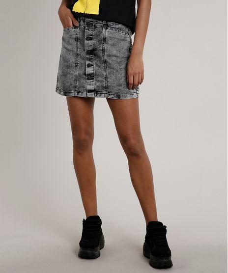 Saia-Jeans-Feminina-Curta-com-Botoes-e-Bolsos-Preta-9662954-Preto_1