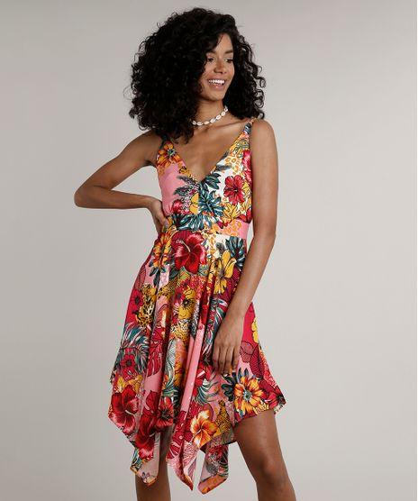 Vestido-Feminino-Curto-Assimetrico-Estampado-Floral-Alca-Media-Coral-9630039-Coral_1