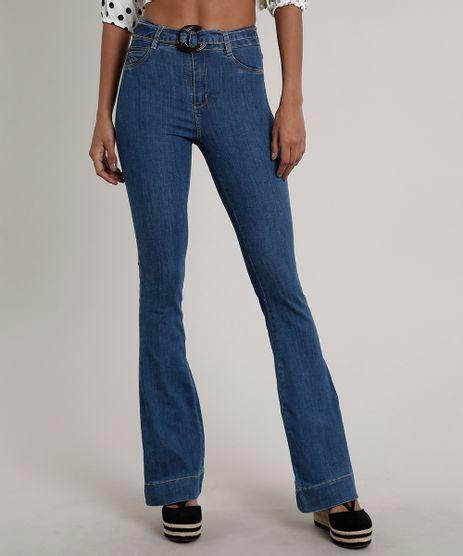 Calca-Jeans-Feminina-Sawary-Flare-com-Cinto-Azul-Medio-9671814-Azul_Medio_1