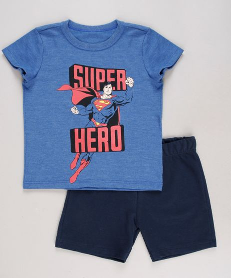 Conjunto-Infantil-Super-Homem-de-Camiseta-Manga-Curta-Azul---Bermuda-em-Moletom-Azul-Marinho-9429373-Azul_Marinho_1