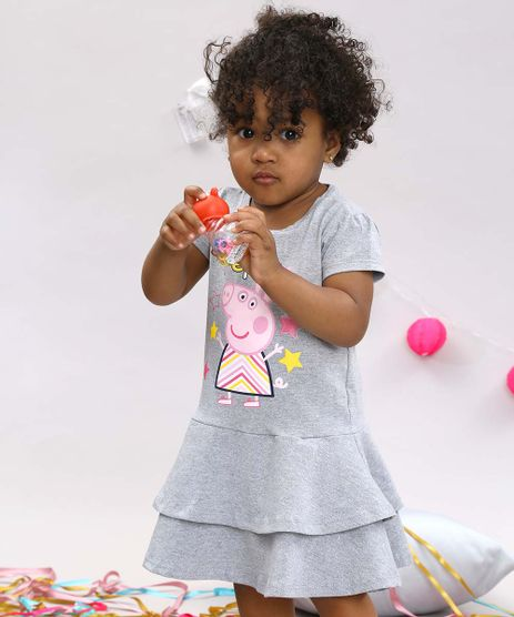 Vestido-Infantil-Peppa-Manga-Curta-Cinza-Mescla-Claro-9688776-Cinza_Mescla_Claro_1
