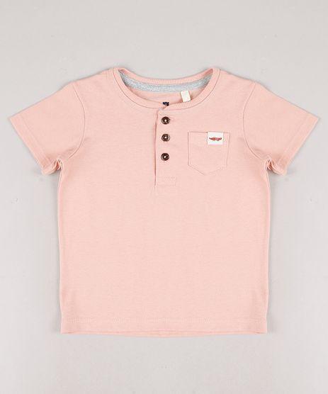 Camiseta-Infantil-com-Bolso-Manga-Curta-Gola-Portuguesa-Coral-9678401-Coral_1