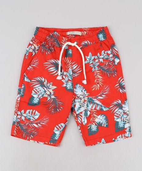 Bermuda-de-Sarja-Infantil-Estampada-de-Folhagem-com-Cordao-Vermelha-9690565-Vermelho_1
