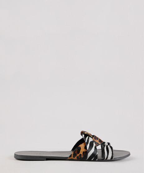 Rasteira-Feminina-Oneself-em-Couro-Animal-Print-Onca-e-Zebra-Preto-9701561-Preto_1
