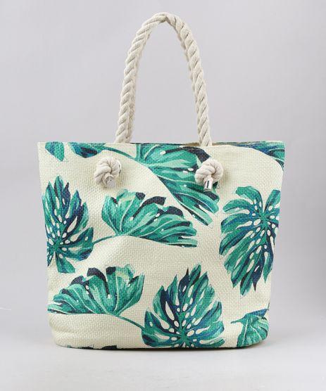 Bolsa-de-Praia-Feminina-Shopper-Grande-com-Palha-Estampada-de-Folhagem-Bege-Claro-9602432-Bege_Claro_1