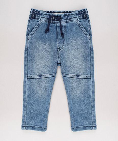 Calca-Jeans-Infantil-em-Moletom-com-Recorte-Azul-Medio-9635834-Azul_Medio_1