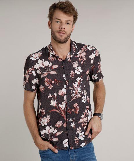 Camisa-Masculina-Tradicional-Estampada-Floral-Manga-Curta-Chumbo-9639678-Chumbo_1